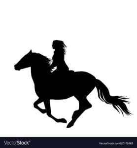 Black silhouette of a woman rider a running horse