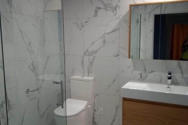 Tiled marble shower